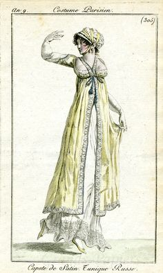 1800-1801 An 9 Costume Parisien Plate No 305 Capote de Satin. Tunique Russe. See also https://www.pinterest.com/pin/322500023300508243/