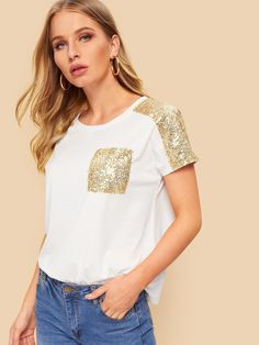 To find out about the Contrast Sequins Pocket Tee at SHEIN, part of our latest T-Shirts ready to shop online today! : To find out about the Contrast Sequins Pocket Tee at SHEIN, part of our latest T-Shirts ready to shop online today! Latest T Shirt, Sequin Fabric, Printed Tees, Sleeve Styles, Ideias Fashion, Sequins, Trends, Clothes For Women, Casual