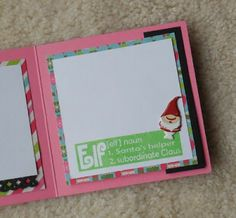 It's time to start writing your list to the Big Elf himself. What better way than this sweet little tri-fold card. Tri Fold Cards, Christmas Paper Crafts, December Daily, Start Writing, Life Design, Punch, Presents, Stamp, Joy