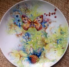 Painted on China by Mark Jones  Butterfly and strawberry splash