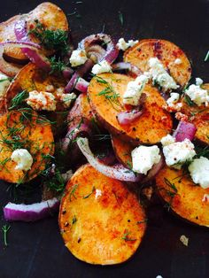 Organic sweet potatoes with Carr Valley penta creme blue cheese, red onions, and dill.