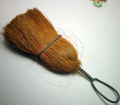 Little Handmade Whisk Broom, Kitchen Primitives, Twisted Rustic Wire and Straw, c.1930s USA