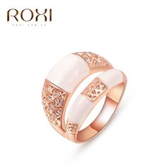 2017 New ROXI White Crystal Inlay Rose Gold Plated Ring Jewelry Romantic Valentine's Gift for Women Girls Friend