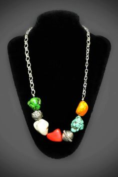 Rainbow Necklace - Rough Stones and Pewter Beads - $30.00 by IrisMDesign