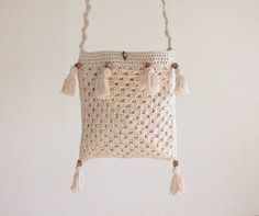 Crochet Summer bag  Pure Cotton Cream Natural