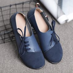 cd113e09496 Hot-sale Large Size Women Casual Soft Lightweight Splicing Leather Lace Up Flats  Loafers -