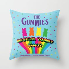 The Gummies, Magical Yummy Candy Throw Pillow