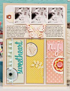 Une page de Jen Jockisch. J'aime ces pages tellement ordonnées, dans de belles teintes fraîches, avec de jolis imprimés. C'est parfait !