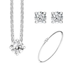 18ct White Gold Diamond Three Piece Gift Set, BLC-232 At C W Sellors, we have an expert team of diamond specialists who handpick and grade each jewel to meet our high standards and a team oftalented in house designers who combine their talents tobring you our exclusive Diamond collection. Chosen for their rare white quality, eachdiamond we use has a minimum clarity of VS and minimum colour of G-H. This beautiful gift set comprises: Pendant: Diamond Round Brilliant 0.40cts, sold complete… Christmas Gift Sets, High Standards, Rose Gold Jewelry, White Gold Diamonds, Natural Gemstones, Jewelry Gifts, Black Friday, Meet, Jewels