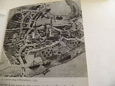A picture map of Shrewsbury from We had big swans. Tudor Dynasty, Pheasant, Swans, Old Town, Photos, Pictures, Gems, Cottage, Posters