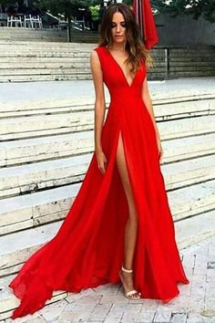 Prom Dresses,Prom Gowns, Evening Dresses,Party Gowns,Red Split Prom Dresses,V Neck Chiffon Evening Dresses, Sexy Party Gowns, M32