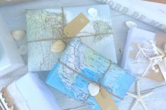 maps used as wrapping paper