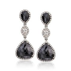 11.83 ct. t.w. Black and White Diamond Dangle Earrings in 18kt White Gold