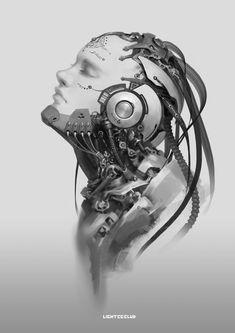 Conceptual design of cyberpunk style Arte Ninja, Arte Robot, Robot Art, Chat Steampunk, Style Steampunk, Cyberpunk Kunst, Cyberpunk Aesthetic, 4 Tattoo, Alien Concept Art