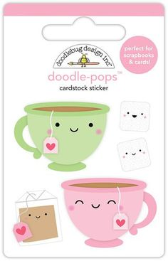 Doodlebug Design - Cream and Sugar Collection - Doodle-Pops - 3 Dimensional Cardstock Stickers - Tea for Two