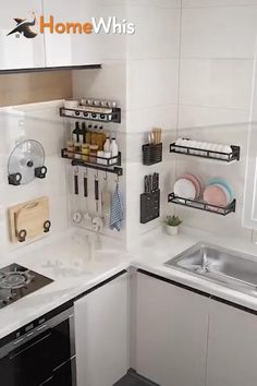 Declutter & keep your kitchen organized with these wall mounted kitchen shelves from Homewhis! (starting at $15.95), these kitchen organizers keep your kitchen neat tidy & orderly without drilling or nails. They install easily and hold very heavy objects without a problem! Great Kitchen wall idea and pantry organization idea! Shop to get the kitchen counter organization shelves while it's 50% off with Worldwide Shipping. #homewhis #kitchenorganization #kitchenideas #kitchenshelves #organization Kitchen Room Design, Home Decor Kitchen, Warm Kitchen, Mini Kitchen, Kitchen Designs, Kitchen Tips, Joy Kitchen, Small Kitchen Pantry, Bakery Kitchen