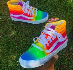 TieDye Vans by okaykool Jordan Shoes Girls, Girls Shoes, Rainbow Vans, Rainbow Sneakers, Vans Shoes Fashion, Custom Vans Shoes, Cute Vans, Cute Sneakers, Vans Sneakers