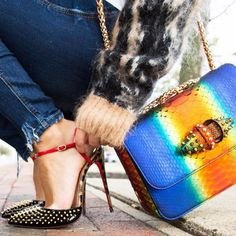 Red 'n Exotic 🐠 for the first day of Fall! #louboutinworld #saksstyle#hmootd