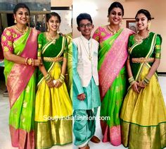 Actress Roja and her daughter Anshumalika attended a family wedding wearing traditional outfits. roja daughter in half saree Kids Lehenga Choli, Half Saree Lehenga, Saree Dress, Saree Blouse, Kids Saree, Banarasi Lehenga, Kids Blouse Designs, Sari Blouse Designs, Bridal Blouse Designs