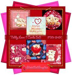 Valentin Teddy Love 1 Deckblätter (Q-Cards) 5x5 (PU,S4H) Scrapbook von SholaWebGraphics auf Etsy