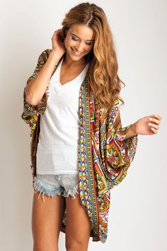Arnhem Clothing 'Song Bird' Kimono in Mayan Song. Via Soleilblue.