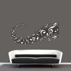 Music Notes Background Musical Notation Signs in 2 Colors Wall Vinyl Decal on Etsy, $58.36 AUD