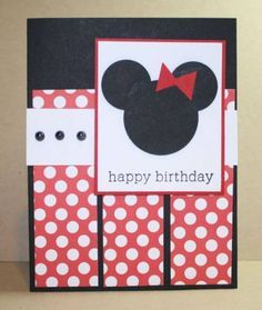Mickey or Minnie punch art Birthday Cards For Mom, Bday Cards, Handmade Birthday Cards, Disney Scrapbook, Scrapbook Cards, Scrapbooking, Minnie Birthday, Diy Birthday, Birthday Quotes