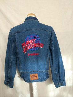 Vintage 1991 Planet Hollywood mens jeans jacket long sleeves size large | eBay