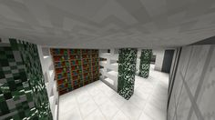 Minecraft library - Walls made from quartz slabs and quartz stairs. Leaves are spruce.