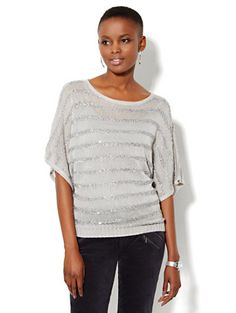Sequin Striped Dolman Sweater - New York