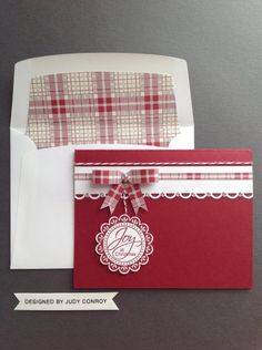 Stamp: Perfect Punches, Festival of Prints Paper stack, Bakers Twine, Cherry… Stamped Christmas Cards, Homemade Christmas Cards, Christmas Cards To Make, Noel Christmas, Xmas Cards, Handmade Christmas, Homemade Cards, Holiday Cards, Nouvel An