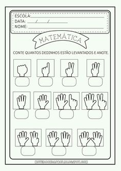 good math worksheet to remake in English // writing numbers based on fingers Kindergarten Worksheets, Worksheets For Kids, Learning Activities, Preschool Activities, Teaching Kids, Kids Learning, Math For Kids, Kids Education, Math Centers