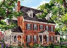 Plan Classic Brick Colonial Home - Sunroom Windows Colonial House Exteriors, Colonial Exterior, Colonial House Plans, Colonial Style Homes, Exterior Design, Colonial Mansion, Traditional Exterior, Architecture Classique, Georgian Homes