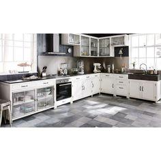 Wit gerecycleerd houten laag keukenelement met wasbak B 90 cm Ostende   Maisons du Monde