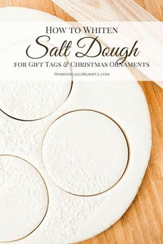 to Whiten Salt Dough A simple tutorial for creating beautiful white salt dough for christmas ornaments & gift tags!A simple tutorial for creating beautiful white salt dough for christmas ornaments & gift tags! Salt Dough Projects, Salt Dough Crafts, Salt Dough Recipes, Flour Crafts, Best Salt Dough Recipe, Salt Dough Handprints, Salt Dough Christmas Ornaments, Clay Ornaments, Homemade Ornaments