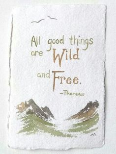All good things are Wild and Free ~ Thoreau