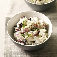 A Greek-inspired potato salad is lemony and bright, garnished with chopped olives and crumbled feta. #recipe #WWLoves 4 SmartPoints