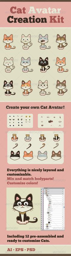 Cat Avatar Creation Kit — Photoshop PSD #illustration #mix • Available here → https://graphicriver.net/item/cat-avatar-creation-kit/2555318?ref=pxcr