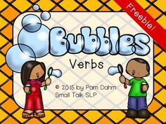Who doesn't like bubbles??? Every preschooler I know just can't get enough! So I made this quick little activity to combine learning verbs and pronouns with blowing bubbles. This full-color freebie includes: 2 Bubble Verbs mats 20 Verb Cards 2 Sentence Builder