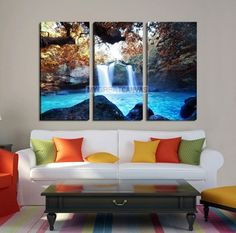 Large Wall Art Waterfall Canvas Print - Great Double Waterfalls with Bright Water in Forest
