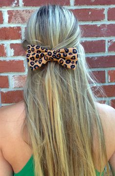 Leopard Big Hair Bow by EsmerAccessories on .omg leopard bow like a real bow hair clip. I must find out where to get this.