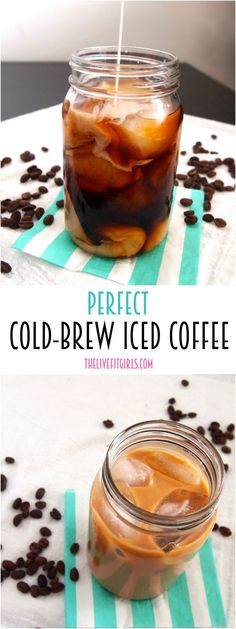 Wake up on the right side of bed with this easy cold-brew iced coffee recipe. Cold Brew Coffee Recipe, Cold Brew Iced Coffee, Making Cold Brew Coffee, Iced Coffee Drinks, How To Make Ice Coffee, Coffee Cafe, Easy Coffee, Coffee Menu, Coffee Poster