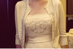 vintage wedding dress with jeweled cardigan | Vintage Inspired, Anthro-like Wedding by Kate Harrison