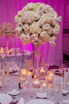 Floral Centerpieces & Candlelight | The Big Fat Jewish Wedding