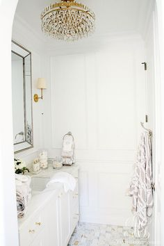 Glam Transitional Guest Bathroom Reveal - with Marble Silver and Brass - tour a bathroom remodel project with all the sources to create your own glam room