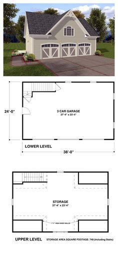 Garage Plan 74802 | The Coventry Carriage House is a 3 car garage with 749 sq. ft. or storage space above. With siding exterior and eye-catching details, this design is reminiscent of a country barn. The upper level storage area could be a studio, a home office, a playroom or just a getaway. The possibilities are limitless! #garageplan