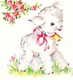 Easter Greetings vintage card w/ lamb https://www.flickr.com ...
