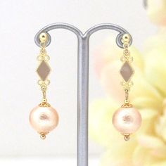 Cly Light Orange Cotton Pearl Invisible Clip On Earrings Wedding
