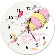 The Dr. Seuss Oh! The Places You'll Go wall clock by Trend Lab is perfect for a Dr. Seuss themed nursery or bedroom. The clock features the colors of Dr Seuss Nursery, Girl Nursery, Pink Wall Clocks, Big Girl Bedrooms, Go Pink, Nursery Themes, Nursery Ideas, Nursery Inspiration, Nursery Decor