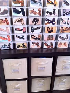 Polaroids on clear boxes. Shoe organization